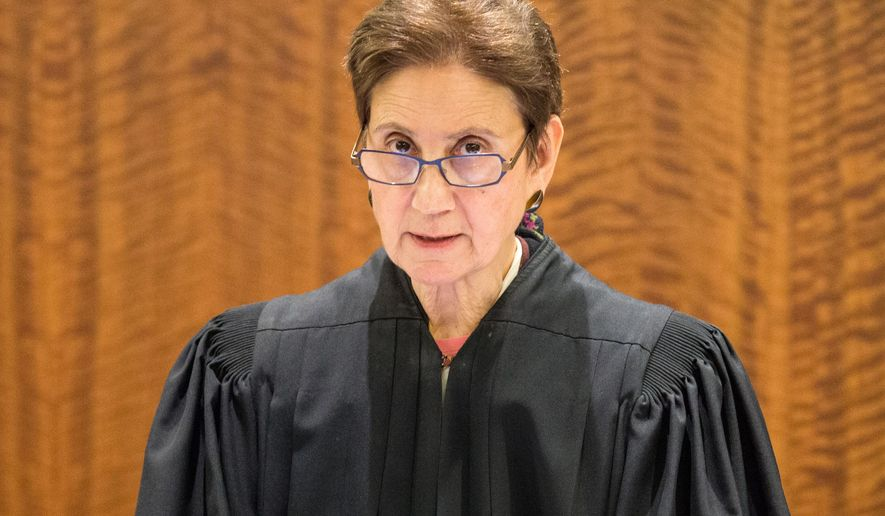 Bristol County Superior Court Judge Susan Garsh addresses the court during the murder trial of former New England Patriots player Aaron Hernandez at Bristol County Superior Court in Fall River, Ma., Tuesday, Feb. 3, 2015. Hernandez is accused of the June 2013 killing of Odin Lloyd.  (AP Photo/The Boston Globe, Aram Boghosian, Pool )