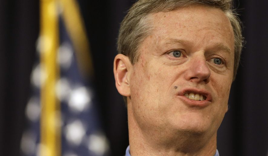 Massachusetts Republican Gov. Charlie Baker takes questions from reporters during a news conference, Tuesday, Feb. 3, 2015, at the Statehouse, in Boston. Baker declared Tuesday that it's time for state government to live within its means as he outlined more than $500 million in spending cuts to help close a budget shortfall. (AP Photo/Steven Senne)