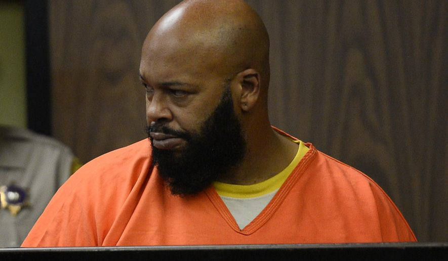 "Marion ""Suge"" Knight appears in a court during his arraignment, Tuesday, Feb. 3, 2015 in Compton, Calif.  Knight, 49,  pleaded not guilty on to murder, attempted murder and other charges filed after he struck two men with his truck last week. (AP Photo/Paul Buck, Pool)"