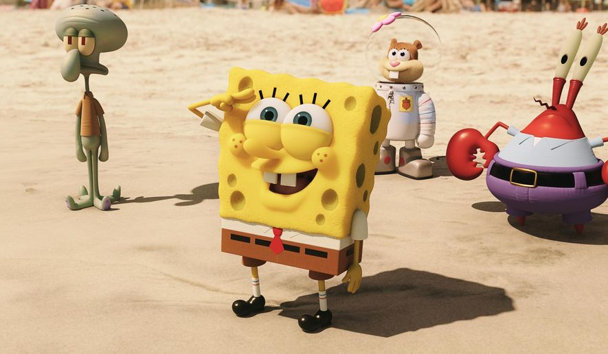 "This image released by Paramount Pictures and Nickelodeon Movies shows characters, from left,  Squidward Tentacles, SpongeBob SquarePants, Sandy Cheeks, and Mr. Krabs in a scene from ""The Spongebob Movie: Sponge Out of Water."" (AP Photo/Paramount Pictures and Nickelodeon Movies)"