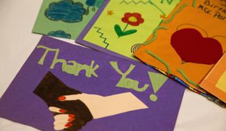 Children's thank you and birthday cards that were sent to Rosa Parks are among the items in the Rosa Parks archive as seen during a media preview at the Library of Congress. (AP Photo/Jacquelyn Martin)