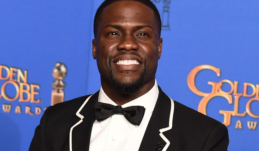 FILE - In this Jan. 11, 2015, file photo, presenter Kevin Hart poses in the press room at the 72nd annual Golden Globe Awards at the Beverly Hilton Hotel in Beverly Hills, Calif. Hart and Nicki Minaj will headline the events leading to the BET Awards, the network announced Tuesday, Feb. 3, 2015. The 2015 BET Awards will take place June 28 at the Staples Center, in Los Angeles. (Photo by Jordan Strauss/Invision/AP, File)