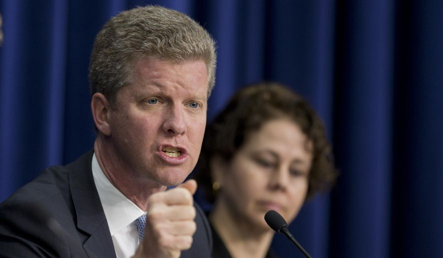 Office of Management and Budget Director Shaun Donovan, left, with  Domestic Policy Council Director Cecilia Muñoz, talks about President Barack Obama's Fiscal Year 2016 Budget, during a news conference in the White House complex in Washington, Monday, Feb. 2, 2015.  Obama sent Congress a record $4 trillion budget Monday that would boost taxes on higher-income Americans and corporations and eliminate tight federal spending caps to shower more money on both domestic and military programs. It would provide middle-class tax relief and fund an ambitious public works effort to rebuild aging roads and bridges. (AP Photo/Manuel Balce Ceneta)