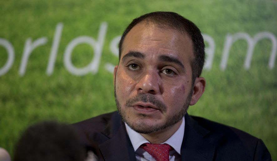 FIFA vice president Jordan's Prince Ali bin al-Hussein speaks during a press conference for his FIFA presidency campaign launch in a London hotel, Tuesday, Feb. 3, 2015.  Prince Ali bin al-Hussein says the United States was among the national associations to nominate him to stand against Sepp Blatter for the top job in world football. The Jordanian also disclosed he was endorsed by his home federation, Belarus, Malta, England and Georgia. (AP Photo/Matt Dunham)