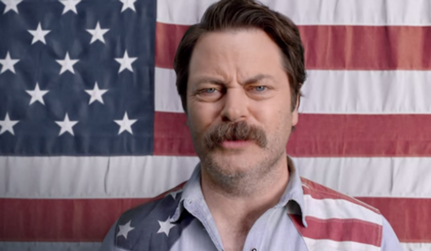 """An ad for NBC Sports' NASCAR programming, featuring the rugged, flannel-wearing Nick Offerman from """"Parks and Recreation,"""" has offended the gluten-free community. (YouTube)"""