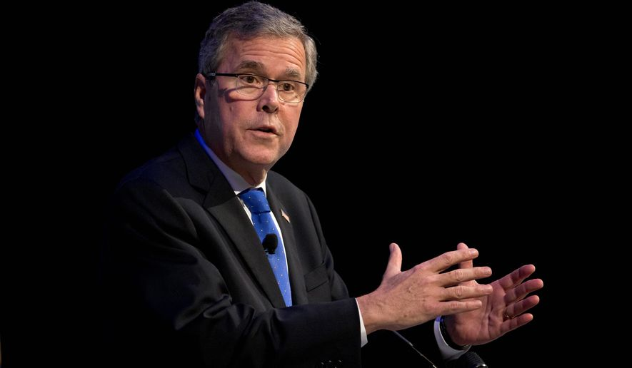 Former Florida Gov. Jeb Bush speaks at a Economic Club of Detroit meeting in Detroit Wednesday, Feb. 4, 2015. (AP Photo/Paul Sancya) ** FILE **