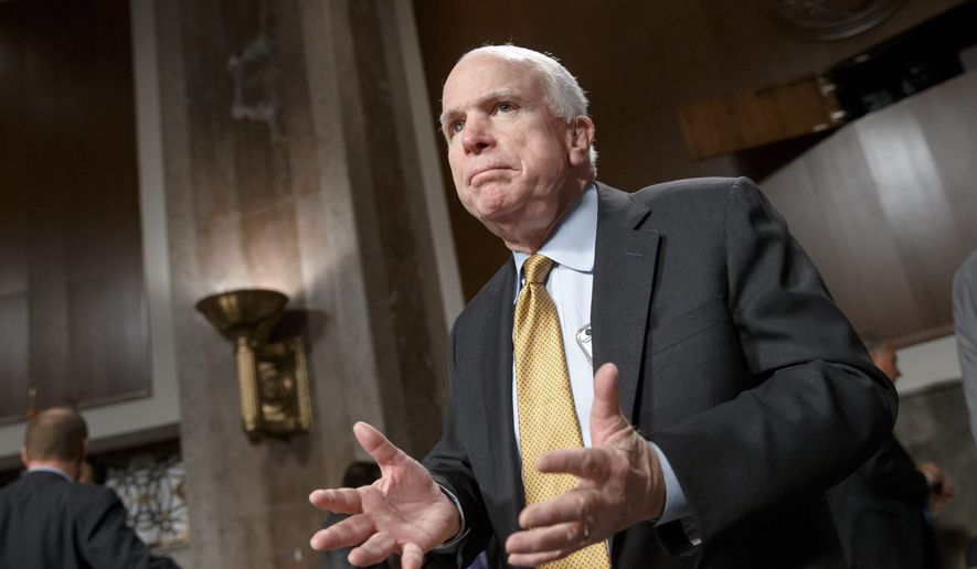 """Senate Armed Services Committee Chairman John McCain, Arizona Republican, said the panel is """"just at the beginning"""" of a plan to overhaul the military retirement system. A 401(k)-like system is just one suggestion by members of the Military Compensation and Retirement Modernization Commission. (Associated Press)"""