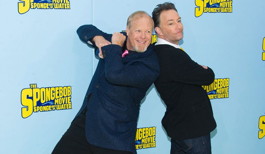 """Bill Fagerbakke (left) and Tom Kenny say they prefer to record their characters, Patrick Starr and SpongeBob SquarePants, together rather than """"Frankenstein everything together in the editing room."""" """"The SpongeBob Movie: Sponge Out Of Water,"""" opens Friday. (Associated Press Photographs)"""