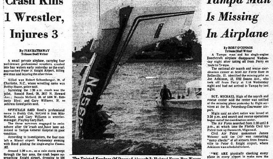 A Tampa Tribune newspaper article shows a story about the Feb. 20, 1975 airplane crash of a plane professional wrestlers off the Davis Islands. (AP Photo/Tampa Tribune File ) ST. PETERSBURG OUT; LAKELAND OUT; BRADENTON OUT; MAGS OUT; LOCAL TV OUT; WTSP CH 10 OUT; WFTS CH 28 OUT; WTVT CH 13 OUT; BAYNEWS 9 OUT; THE TAMPA BAY TIMES OUT; LAKELAND LEDGER OUT; BRADENTON HERALD OUT; SARASOTA HERALD-TRIBUNE OUT; WINTER HAVEN NEWS CHIEF OUT; ONLINE OUT