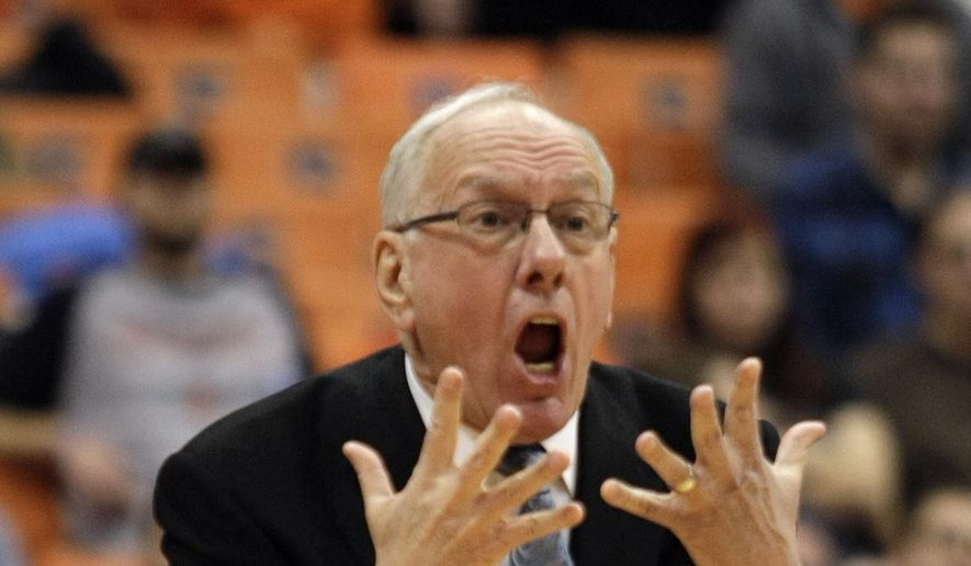 Syracuse coach Jim Boeheim yells to his players during the first half of an NCAA college basketball game against Virginia Tech, Tuesday, Feb. 3, 2015, in Syracuse, N.Y. (AP Photo/Nick Lisi)