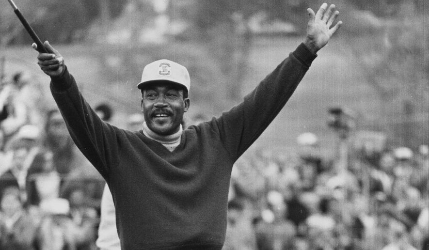 FILE - In this Jan. 13, 1969, file photo, Charlie Sifford throws up his arms after he dropped a short par putt on the 18th green to tie Harold Henning at the end of 72 holes in the Los Angeles Open golf tournament. Sifford, who fought the Caucasian-only clause on the PGA Tour and became its first black member has died Monday night Feb. 2, 2015. He was 92. The PGA of America confirmed the death of Sifford, who recently suffered a stroke. No cause of death was given. (AP Photo/File)