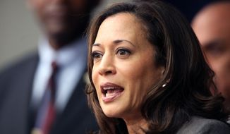 FILE - In this Nov. 16, 2012 file photo, California Attorney General Kamala Harris speaks during a news conference in Los Angeles. Three weeks after announcing her candidacy for the U.S. Senate,  Harris hasn't spoken a word, a strategy that has allowed her to avoid media scrutiny while carefully setting a foundation for the 2016 contest. (AP Photo/Richard Vogel, File)