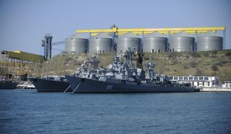 Russian Black Sea fleet ships are anchored in one of the bays of Sevastopol, Crimea, in this March 31, 2014, file photo. (AP Photo/Andrew Lubimov, File)