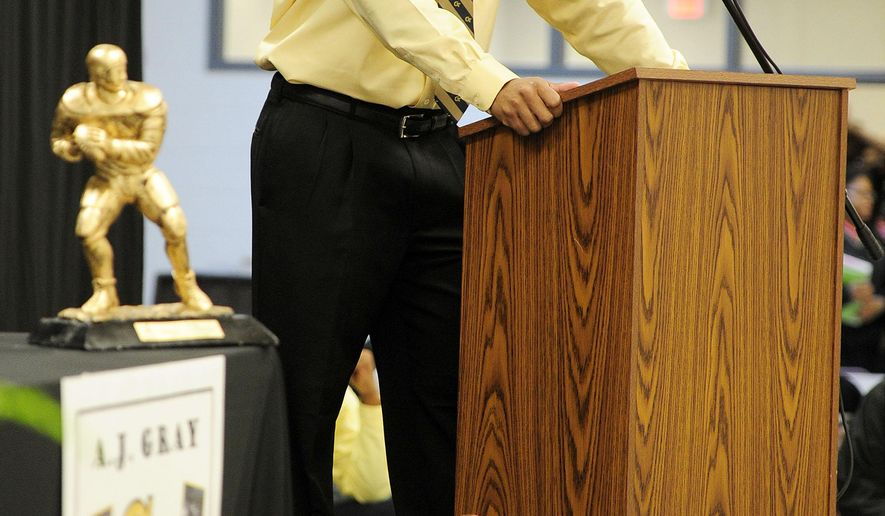 Washington County High School's A.J. Gray, speaks during a national signing day event at the school in Sandersville, Ga. Wednesday, Feb. 4, 2015. Gray committed to Georgia Tech. (AP Photo/The Augusta Chronicle, Chris Thelen)