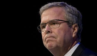 "Former Florida Gov. Jeb Bush pauses while speaking at a Economic Club of Detroit meeting in Detroit Wednesday, Feb. 4, 2015. The Detroit event is the first in a series of stops that Mr. Bush's team is calling his ""Right to Rise"" tour. That's also the name of the political action committee he formed in December 2014 to allow him to explore a presidential run. (AP Photo/Paul Sancya)"