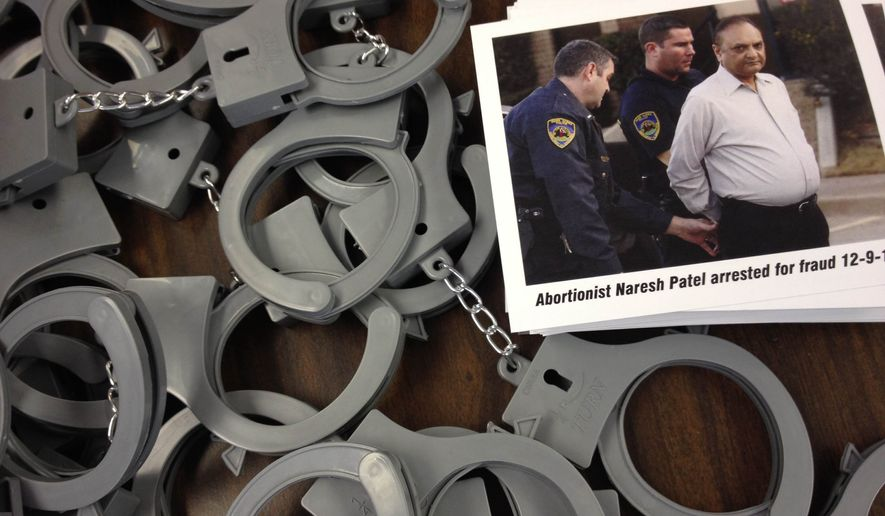 A pro-life group's decision to mail packages with a photo of arrested abortionist Dr. Naresh Patel, some plastic handcuffs and a note with a phone number inviting clinic workers to leave the industry has been attracting attention in abortion circles and in the media. (Image courtesy of Pro-Life Action League).