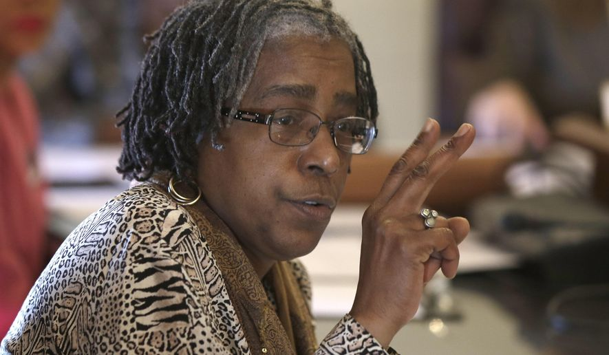 Sen. Stephanie Flowers, D-Pine Bluff, argues against a bill in the Senate City, County and Local Affairs Committee at the Arkansas state Capitol in Little Rock, Ark., Thursday, Feb. 5, 2015. The committee passed the bill that prevents cities and counties from passing their own anti-discrimination laws. (AP Photo/Danny Johnston)