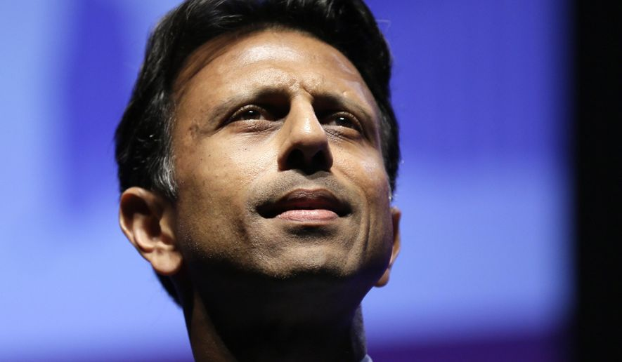 Louisiana Gov. Bobby Jindal pauses while speaking in Ames, Iowa, in this Aug. 9, 2014, file photo. (AP Photo/Charlie Neibergall, File)