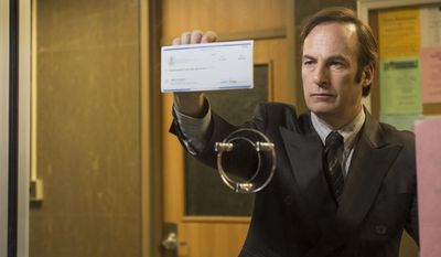 """In this image released by AMC, Bob Odenkirk portrays Saul Goodman  in a scene from """"Better Call Saul."""" Odenkirk reprises his role from """"Breaking Bad,"""" in """"Better Call Saul,"""" a much-anticipated, well-worth-waiting-for prequel airing two episodes Sunday and Monday at 10 p.m. EST. (AP Photo/AMC, Ursula Coyote)"""