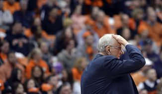 FILE- In this Jan. 13, 2015, file photo, Syracuse coach Jim Boeheim reacts to an official's call during the second half against Wake Forest in an NCAA college basketball game in Syracuse, N.Y. Syracuse University announced Wednesday, Feb. 4, 2015, that it has instituted a self-imposed postseason ban for the current men's basketball season as part of its case pending before the NCAA Committee on Infractions.  (AP Photo/Kevin Rivoli, File)
