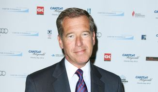 "FILE - This Sept. 11, 2012 file image released by Starpix shows Brian Williams at the Cantor Fitzgerald Charity Day event in New York. NBC ""NBC ""Nightly News"" anchor Williams has admitted he spread a false story about being on a helicopter that came under enemy fire while he was reporting in Iraq in 2003. Williams said on ""Nightly News"" on Wednesday, Feb. 4, 2015, he was in a helicopter following other aircraft, one of which was hit by ground fire. His helicopter was not hit. (AP Photo/Starpix, Andrew Toth, File)"