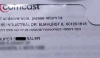 """A Comcast customer in Chicago is outraged after she says her cable bill was addressed to """"Super Bitch Bauer"""" instead of her real name, just weeks after another Comcast customer received two years of free cable after being addressed as """"A------ Brown."""" (WGN-TV)"""