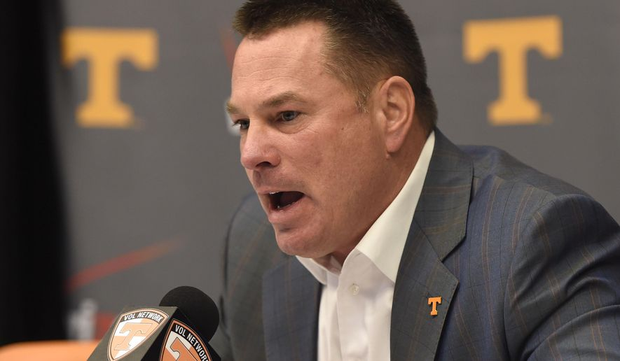 University of Tennessee football coach Butch Jones talks about the 2015 recruitment class on National Signing Day Wednesday, Feb. 4, 2015, in Knoxville, Tenn. (AP Photo/Knoxville News Sentinel, Adam Lau)