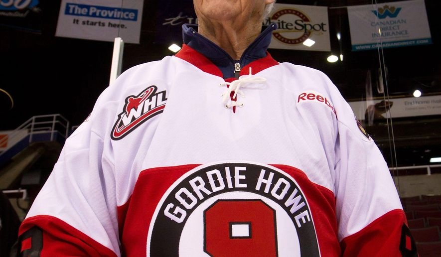 FILE - In this Feb. 2, 2012, file photo, hockey great Gordie Howe, part owner of the Western Hockey League's Vancouver Giants, looks on during a team news conference in Vancouver, British Columbia. Some of the greatest players in hockey history are paying tribute to Gordie Howe in Saskatoon, Saskatchewan Friday, Feb. 6, 2015. (AP Photo/The Canadian Press, Darryl Dyck)