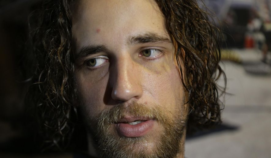 San Francisco Giants starting pitcher Madison Bumgarner answers questions during a media availability at AT&T Park Friday, Feb. 6, 2015, in San Francisco. The first spring baseball workout for Giants pitchers and catchers is on Feb. 19. (AP Photo/Eric Risberg)