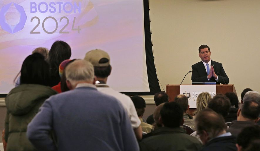 Boston Mayor Marty Walsh addresses the first public forum regarding the Boston 2024 Olympics bid in Boston, Thursday, Feb. 5, 2015. (AP Photo/Charles Krupa)