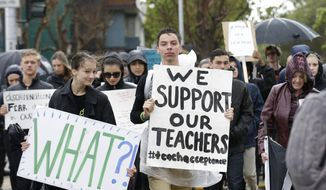 Students and supporters carry signs as they walk toward Sacred Heart Cathedral Preparatory after a vigil outside of St. Mary's Cathedral in San Francisco, Friday, Feb. 6, 2015. The Roman Catholic archbishop of San Francisco is getting pushback from some parents, students and teachers at parochial schools after unveiling faculty handbook language calling on teachers to lead their public and professional lives consistently with church teachings on homosexuality, same-sex marriage, abortion, birth control and other behaviors he describes as evil.  (AP Photo/Jeff Chiu)