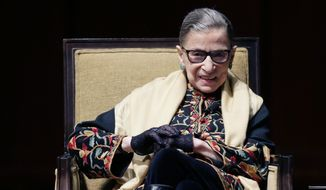 Supreme Court Justice Ruth Bader Ginsburg is interviewed at the University of Michigan in Ann Arbor, Mich., Friday, Feb. 6, 2015. Justice Ginsburg spoke to more than 3,000 people as part of a national series of lectures in the field of human values. (AP Photo/Carlos Osorio) ** FILE **