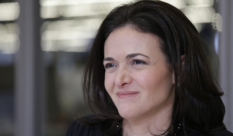 In this photo taken Tuesday Feb. 3, 2015, Facebook chief operating officer Sheryl Sandberg answers questions in an interview at Facebook headquarters in Menlo Park, Calif. A new Facebook and LinkedIn collaboration announced Friday, Feb. 6, 2015, seeks to boost the dwindling numbers of women studying engineering and computer science today, a field booming with lucrative Silicon Valley jobs long dominated by men. (AP Photo/Eric Risberg)