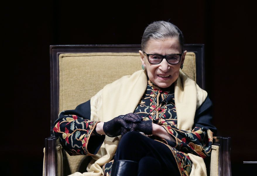 Supreme Court Justice Ruth Bader Ginsburg, shown here addressing an audience in February at the University of Michigan in Ann Arbor, has spoken and acted in favor of gay marriage. A group that opposes same-sex marriage has asked her to recuse herself from the upcoming hearings on gay marriage cases. (AP Photo/Carlos Osorio)