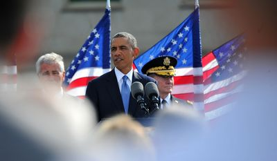 President Barack Obama speaks during the 9/11 memorial ceremony at the National 9/11 Pentagon Memorial at the Pentagon in Arlington, Va., Sept. 11, 2014. Pentagon photo.