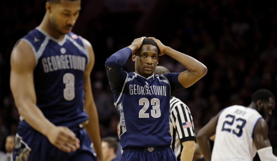 Georgetown's Aaron Bowen (23) reacts after a timeout was called by Georgetown during the second half of an NCAA college basketball game against Villanova, Saturday, Feb. 7, 2015, in Philadelphia. Villanova won 69-53. (AP Photo/Matt Slocum)
