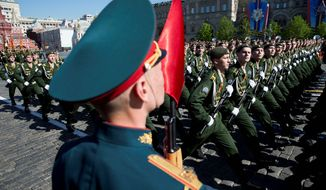 Russian soldiers march in a Victory Day Parade, which commemorates the 1945 defeat of Germany. (Associated Press)