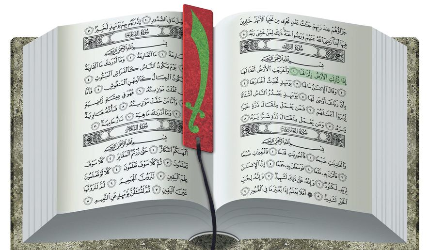Illustrations on the violent implications of the Koran by Alexander Hunter/The Washington Times