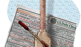 Illustration on the coming debt crisis by Greg Groesch/The Washington Times