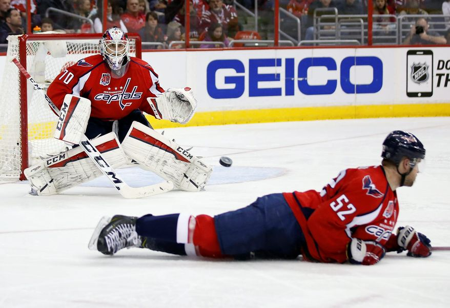 Washington Capitals goalie Braden Holtby (70) prepares to stop a shot as defenseman Mike Green (52) attempted to block it, in the second period of an NHL hockey game against the Philadelphia Flyers, Sunday, Feb. 8, 2015, in Washington. (AP Photo/Alex Brandon) Washington Capitals goalie Braden Holtby (70) prepares to stop a shot as defenseman Mike Green (52) attempted to block it, in the second period of an NHL hockey game against the Philadelphia Flyers, Sunday, Feb. 8, 2015, in Washington. (AP Photo/Alex Brandon)