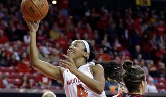 Maryland guard Lexie Brown shoots over Nebraska guard Natalie Romeo in the second half for two of her team-high 14 points in the Terrapins' 59-47 win Sunday. (Associated Press)