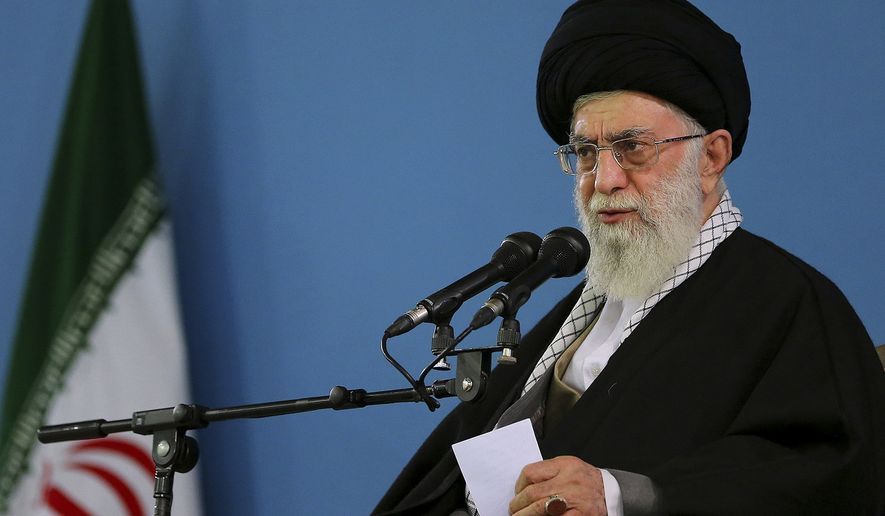 In this photo released by an official website of the office of the Iranian Supreme Leader, Iranian Supreme Leader Ayatollah Ali Khamenei delivers speech during a meeting with air force commanders and officers in Tehran, Iran, Sunday, Feb. 8, 2015. Iran's top leader says no deal is better than a bad deal when it comes to negotiations with world powers over the country's disputed nuclear program. (AP Photo/Office of the Iranian Supreme Leader)