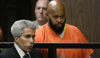 """FILE - In this Tuesday, Feb. 3, 2015, file photo, Marion """"Suge"""" Knight, right, is joined by his attorney David Kenner, left, during his arraignment, in Compton, Calif. Knight is scheduled to appear Monday, Feb. 9, 2015, in court for a hearing that will determine whether he can bail out of jail. (AP Photo/Paul Buck, Pool, File)"""