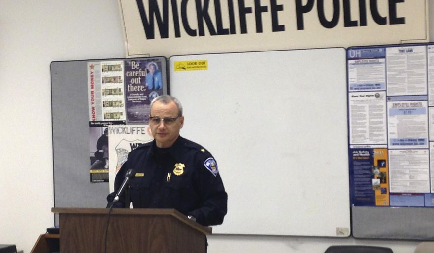 Wickliffe Police Chief Randy Ice speaks at a news conference, Monday, Feb. 9, 2015, in Wickliffe, Ohio. An 11-year-old girl from a Cleveland suburb has been charged with murder in the beating of a 2-month-old who was staying overnight with the girl and her mother to give the baby's mom a break. (AP Photo/Northeast Ohio Media Group, Ryllie Danylko)