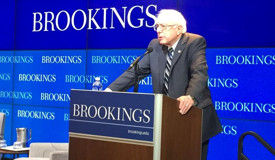 Sen. Bernard Sanders, Vermont independent, speaks Feb. 9 at the Brookings Institution in Washington. (Brookings Institution)