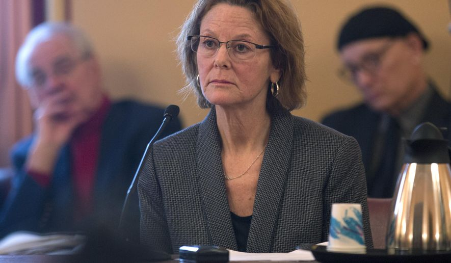 Court of Appeals nominee Judge Leslie Stein listens to a question during a Senate confirmation hearing at the Capitol on Monday, Feb. 9, 2015, in Albany, N.Y. (AP Photo/Mike Groll)