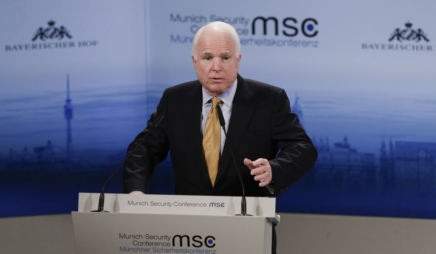 "U.S. Sen. John McCain blasted the president's ""more of the same"" strategy for Ukraine and described it as ""doomed to fail."" (AP Photo/Matthias Schrader)"
