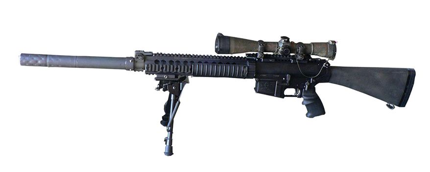 KNIGHT'S ARMAMENT COMPANY SR-25 (U.S.A.) - The SR-25 (Stoner Rifle-25) is a semi-automatic special application sniper rifle designed by Eugene Stoner and manufactured by Knight's Armament Company.The SR-25 uses a rotating bolt and a direct impingement gas system. It is loosely based on Stoner's AR-10, rebuilt in its original 7.62×51mm NATO caliber. Up to 60% of parts of the SR-25 are interchangeable with the AR-15 and M16—everything but the upper and lower receivers, the hammer, the barrel assembly and the bolt carrier group.[1] SR-25 barrels were originally manufactured by Remington Arms with its 5R (5 grooves, rounded) rifling, with twist 1:11.25 (1 complete turn in 11.25 inches or 286 millimetres). The heavy 20in (510mm) barrel is free-floating, so handguards are attached to the front of the receiver and do not touch the barrel. The SR-25 enhanced match rifle utilizes the newer URX II Picatinny-Weaver rail system, rather than the older Mk 11 free-floating RAS, on the top of the receiver to accept different scope mounts or a carrying handle with iron sights (front sight mounted on the rail located on the forward end of the non-modular handguard). The match version is designed to shoot at a precision of 0.5 minutes of angle, which corresponds to 0.5-inch groups at 100 yards.