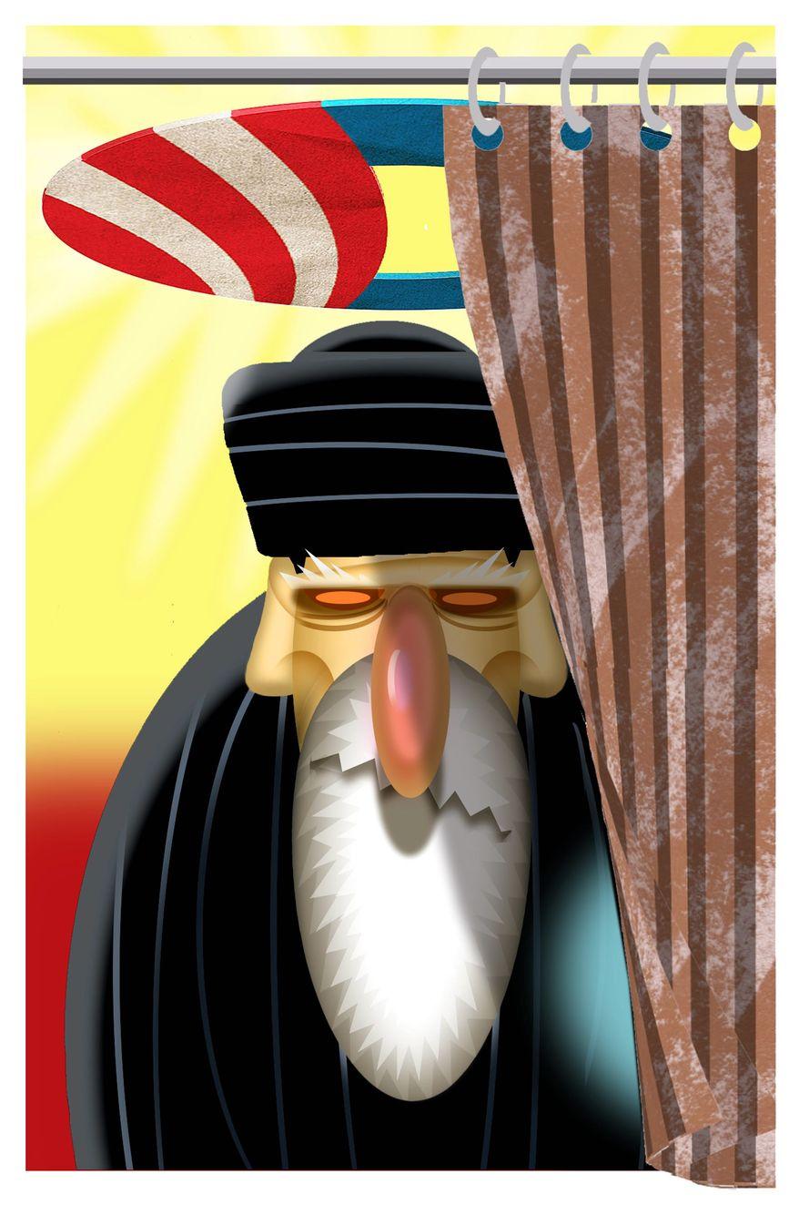 Illustration on Obama's secret strategy to promote Iranian hegemony by Alexander Hunter/The Washington Times