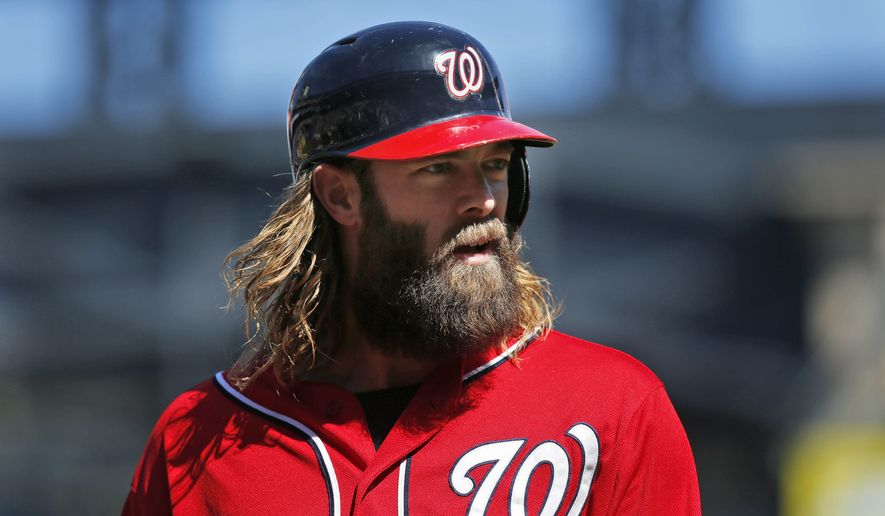 FILE - In this Sept. 14, 2014, file photo, Washington Nationals' Jayson Werth looks on during the first inning of the baseball game against the New York Mets at Citi Field in New York. Werth was convicted Friday, Dec. 5, 2014, of reckless driving and sentenced to 10 days in jail for driving his Porsche over 100 mph on the Capital Beltway earlier this year. (AP Photo/Seth Wenig, File)